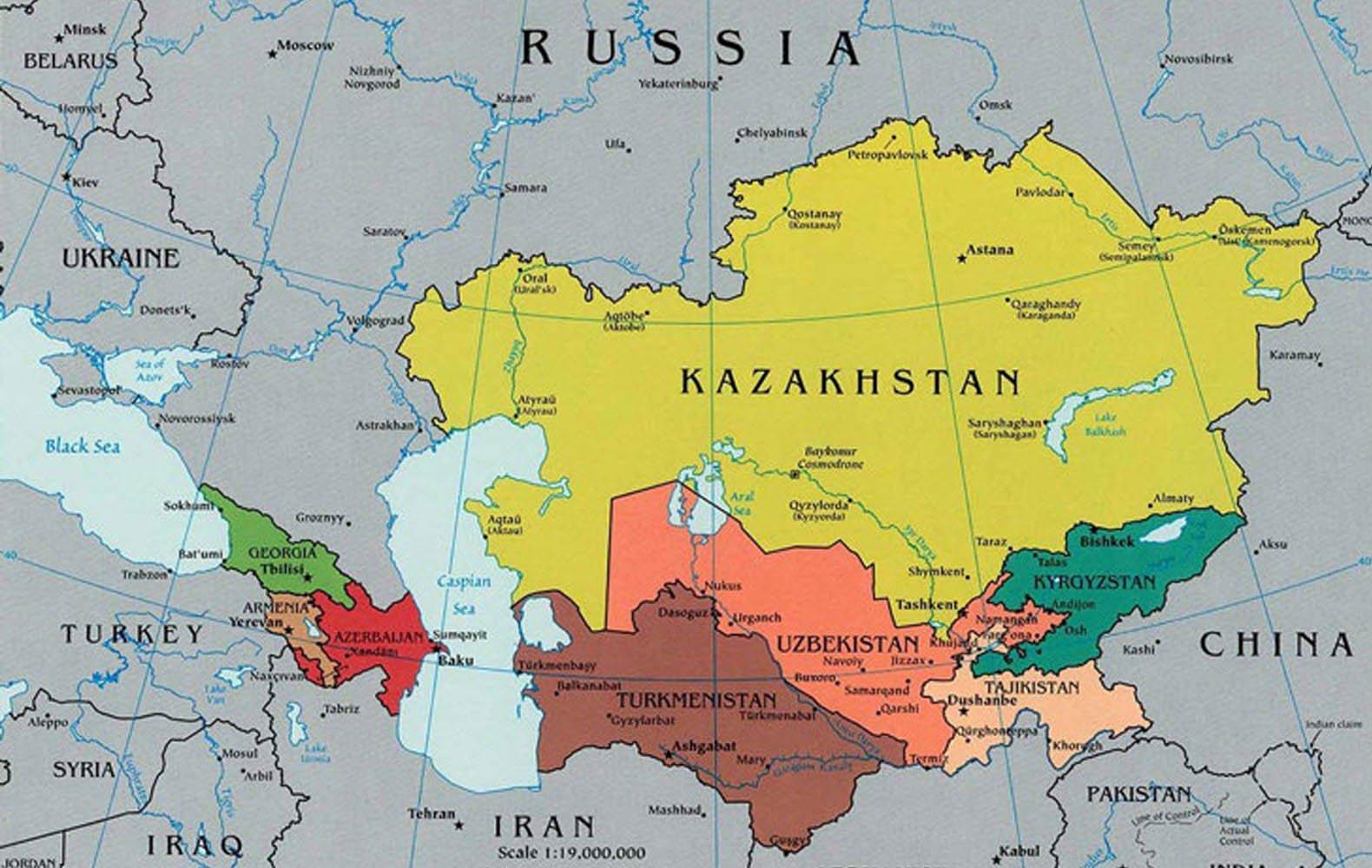 kasakhstan kart Kart over Kasakhstan og omkringliggende land   Kart Kasakhstan  kasakhstan kart